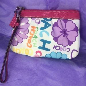 Small Coach Logo Wristlet